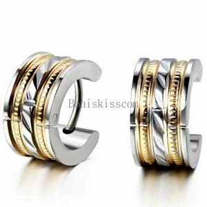 Men's Women Silver Gold Tone Stainless Steel Hinged Hoop Huggie Snap on Earrings