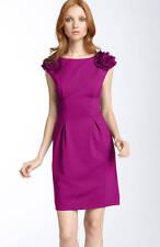 "Trina Turk ""Fitzgerald"" Ponte Knit Ruffle Dress Orchid (Fuschia Magenta) 10 $248"