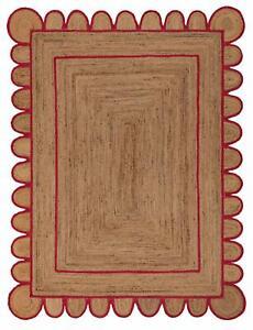 Scallop Rug 100% Natural braided jute Hemp carpet Modern Living rustic look rugs