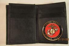 USMC US MARINE CORPS BLACK LEATHER THIN BIFOLD 20 CREDIT CARD WALLET ID