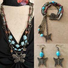 Necklace Set Butterfly Turquoise TigersEye Quartz Boho Artisan-handmade USA 1598