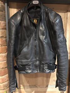 Vintage Belstaff Motorcycle Biker Jacket Pads Black 44 Medium Leather +liner