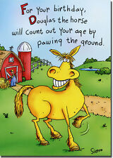 Douglas The Horse Funny Birthday Card - Greeting Card by Oatmeal Studios