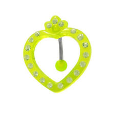 Acrylic Heart Reversed Belly Ring with Gems - 32700-GR