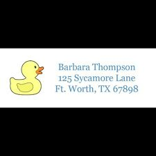 30 Personalized Return Address Labels - Blue Rubber Ducky