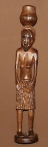 Vintage hand carved wood African nude woman statuette