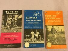 Vintage Schwinn Owner's Manual Lot 1969 Sting Ray 1973-74 Light Weight Bicycles