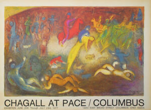MARC CHAGALL - Cartel exposicion Pace gallery - Columbus