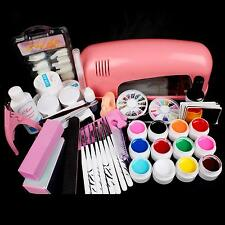 Full 9W Pink Cure Lamp Dryer & 12 Color UV Gel Nail Art Tips Tool Kits Sets