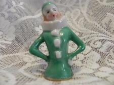 Japan Half Doll Pin Cushion 3 inch Green Clown Doll