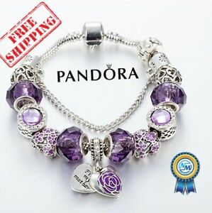 New Authentic Pandora Bracelet Silver Purple Mom Heart Charms Gift