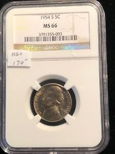 1954-S Jefferson Nickel NGC MS 66 Partial Steps Bright White San Francisco 003