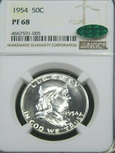 1954 Franklin Silver Half Dollar NGC PF68 CAC White Proof Superb Luster, PQ #G8