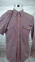 Vintage Tommy Hilfiger Red Plaid Western Cut Shirt Box Logo Men's Size Large