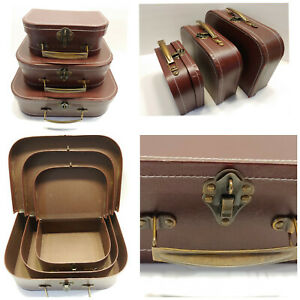 Set of 3 Antique Style Detailed Nesting Storage Cases Brass Latches Faux Leather