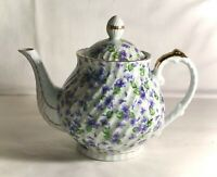 "Lefton Violet Chintz 6 1/2"" Teapot With Lid"