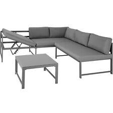 Set de Muebles de Jardín Mesa Tablero Cristal Aluminio Sofás Patio Terraza Gris