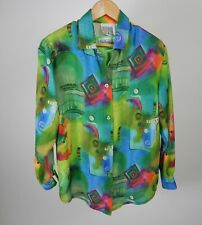 Barbara Gerwit Blouse Green Abstract w/Patchington Green Tank Med/Small