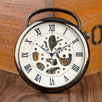 Roman Skeleton Mechanical Men's Pocket Chain Fob Watch Steampunk Vintage Gift
