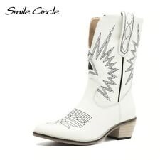 Women's Shoes Leather Boot Waterproof Med Heels Pointy Toe Vintage US UK AU Size