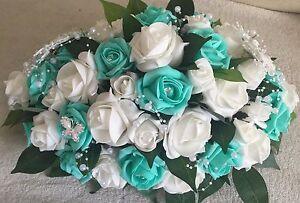 Wedding Table Centrepiece, top table arrangement tiffany blue
