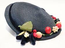 Vintage 50s 60s Straw Hat w Fruit Bonnet