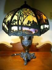 """Exceptional Bent Slag Glass Art Nouveau Lamp 26 1/2"""" Handel Miller B & H Era"""
