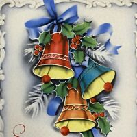 Vintage Mid Century Christmas Greeting Card Red Royal Blue Bells Ribbons