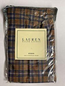 NEW Ralph Lauren EUROPEAN Sham STUDIO Brown Blue Plaid