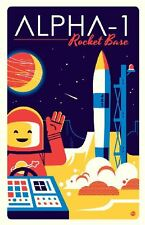 "Original LEGO Art Classic Space Alpha-1 Rocket Base 11""x17"" Poster Dave Perillo"