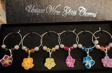 SET OF 6 BEAUTIFUL PLUMERIA WINE GLASS CHARMS PENDANT DRINK MARKERS