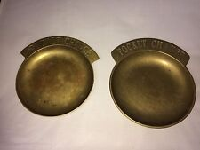 "2 Vintage Solid Brass ""Pocket Change"" Dish Key Holder Dish Coin Money Tray"