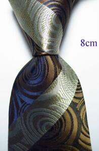 New Classic Paisley Brown Gray Black JACQUARD WOVEN Silk Men's Tie Necktie