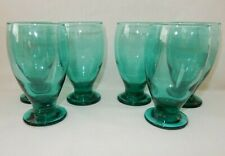 "Set of 6 Teal Green 5.25"" Footed Goblets 12 oz Glasses Tumblers"