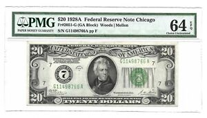 1928A $20 CHICAGO FRN, PMG CHOICE UNCIRCULATED 64 EPQ BANKNOTE