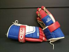 """Vintage Ccm Senior Ice Hockey Gloves Hg-8 15"""" Laced Blue/White/Red Ch Montreal"""