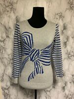 Banana Republic Size S Gray Knit Pullover Sweater Blue Bow