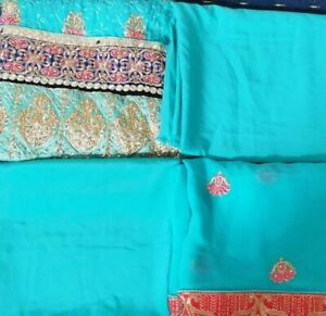 Unstitched Asian Ethnic Embroidered Suit In Aqua 4 piece suit