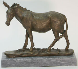 Bronze Sculpture Art Deco Donkey Mule Handcrafted Detailed Marble Base Hot Cast