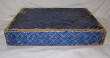 Wooden Flatware Chest Blue & White Plaid & Floral Design Vintage Wood (O2) As Is