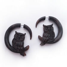 Chic Faux Plugs Gift for Bird Lovers Owl Split Gauge Earrings Carved Wood Boho