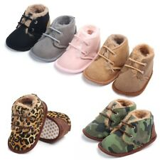 Newborn Baby Boy Girls Warm Wool Anti-Slip First Walkers Boots Sole Shoes PU