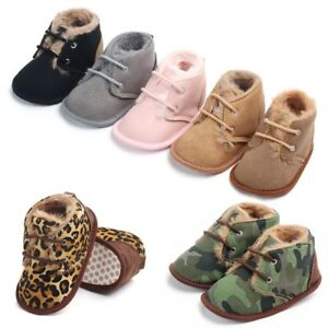 Newborn Baby Boy Girl Warm Wool Anti-Slip First Walkers Boots Sole Leather Shoes
