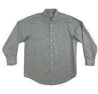 Brooks Brothers Grey Stripe Dress Shirt Men's Large Long Sleeve Button Down