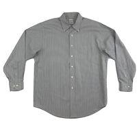 Brooks Brothers Grey Stripe Dress Shirt Men's Large Long Sleeve Button Down