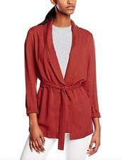 BNWT NEW LOOK terracotta rust red cupro belted blazer jacket size 12 euro 40