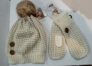NWT~Girls Simply Noelle Curtsy Couture Cream Beanie Hat with Matching Mittens