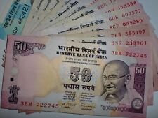 """INDIA PAPER MONEY-16XRS.50 'MG' NOTES-HIGHLY RATED-""""PAPER MONEY GUIDE-2015""""#HRii"""
