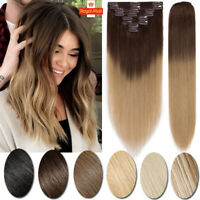 8 PCS Clip In Full Head Ombre Weft 100% Real Remy Human Hair Extensions US STOCK