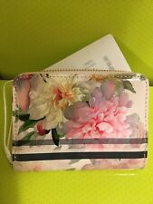 """NEW Ted Baker Painted Posie  Floral Print Zip Mini leather Purse """"JOAN"""" Pink"""